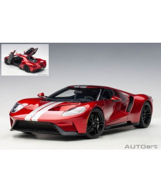 FORD GT 2017 LIQUID RED & SILVER STRIPES 1:18