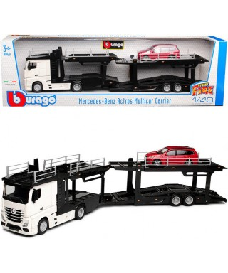 MERCEDES ACTROS 2545 BISARCA WHITE W/FORD FOCUS 1:43