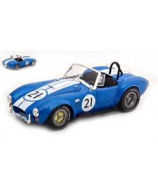 SHELBY AC COBRA 427 RACING 1965 BLUE W/WHITE STRIPES 1:18