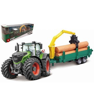 FENDT 1050 VARIO TRACTOR + TRAILER WOODEN LOGS cm 26