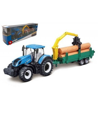 NEW HOLLAND T7.315 TRACTOR + TRAILER WOODEN LOGS cm 26