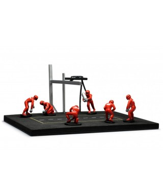 PIT STOP SET 6 FIGURES AND ACCESSORIES RED WITH DECALS 1:43