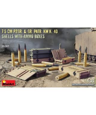 7,5 cm Pzgr.& Gr.Patr.Kw.K.40 SHELL WITH AMMO BOXES KIT 1:35
