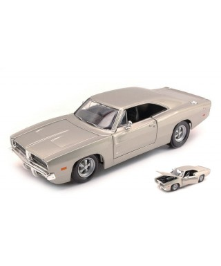 DODGE CHARGER R/T 1969 SILVER 1:25